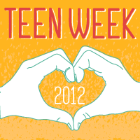The Teen Week 2012 logo, hands making a heart shape on an orange background with red letters that say TEEN WEEK