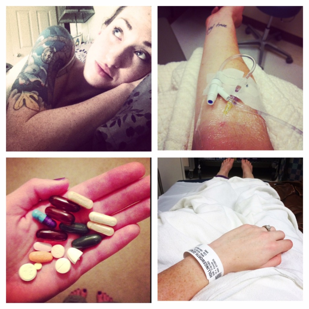 Four pictures in a collage: 1:Genevieve lying in bed, gazing up at the ceiling. You can see her left arm, which is tattooed. 2: Genevieve's arm with an IV in it, 3: Genevieve's hand holding 17 pills, 4: Genevieve's wrist with a hospital admittance bracelet on it, lying on her body which is covered in a white sheet with her feet poking out the bottom.