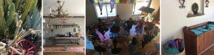 Photographs of Sagrada Wellness retreat center and people practicing yoga